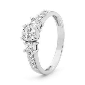 Image of Cubic Zirconia CZ White Gold Ring - Engagement Sparkler (W25384/CZ)