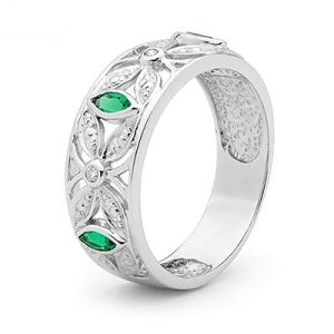 Image of Emerald and Diamond White Gold Ring - Art Deco (W25388/G)