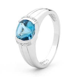 Blue Topaz and Diamond White Gold Ring - Buff Top