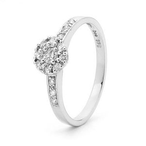 Image of Diamond White Gold Ring - Engagement Cluster Shoulder (W25397/B32)