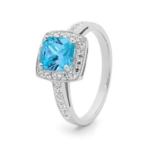 Blue Cubic Zirconia CZ and Diamond White Gold Ring