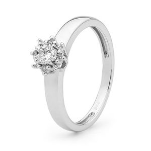 Image of Diamond White Gold Ring - Solitaire Claw Set Engagement (W25442/B29)