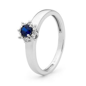 Image of Sapphire and Diamond White Gold Ring - Petit Cluster (W25442/SACR)