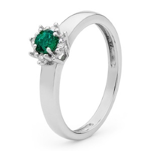 Image of Emerald and Diamond White Gold Ring - Solitaire (W25442/G)
