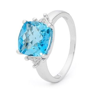 Blue Topaz and Diamond White Gold Ring - Checkerboard