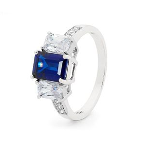 Image of Sapphire and Cubic Zirconia CZ White Gold Ring - Trilogy (W25485/SSCZ)