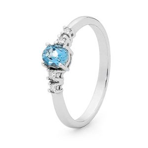 Image of Blue Topaz and Diamond White Gold Ring - Solitaire Oval (W25487/BT)