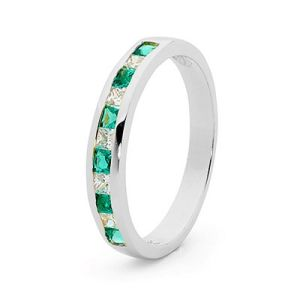 Image of Emerald and Cubic Zirconia CZ White Gold Ring - Eternity (W25514/CZG)