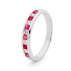Image of Ruby and Cubic Zirconia CZ White Gold Ring (W25514/CZR)