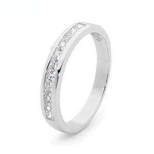 Image of Cubic Zirconia CZ White Gold Ring - Channel Setting (W25514/CZ)