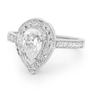 Image of Cubic Zirconia CZ White Gold Ring - Pear Halo (W25520/CZ)