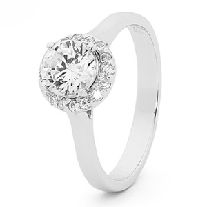 Image of Cubic Zirconia CZ White Gold Ring - Halo Setting (W25521/CZ)