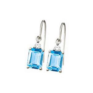 Image of Blue Topaz and Diamond White Gold Earrings - Hook (W53850/BT)