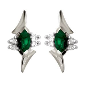 Image of Emerald and Diamond White Gold Earrings (W54720/G)