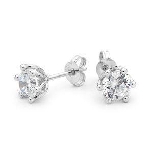 Image of Cubic Zirconia CZ White Gold Earrings (W54732/CZ)