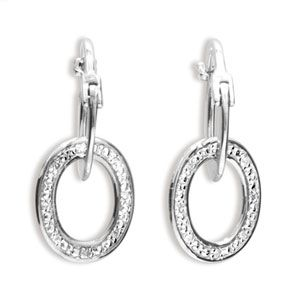 Image of Diamond White Gold Earrings - Oval (W55152)