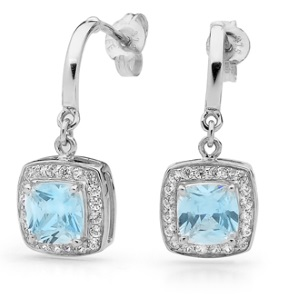Image of Blue Cubic Zirconia White Gold Earrings - Halo (W55420/CZBT)