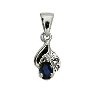 Image of Sapphire and Diamond White Gold Pendant (W61374/S)