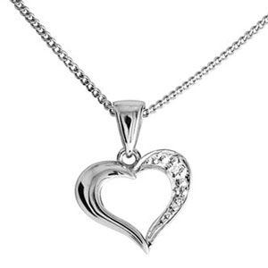 Image of Diamond White Gold Pendant - Heart Delicate (W61428)