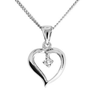Image of Diamond White Gold Pendant - Heart Solitaire (W61943)