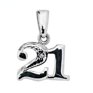 Image of Diamond White Gold Pendant - 21 Number (W62050/21)