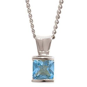 Image of Blue Topaz White Gold Pendant (W63499/BT)