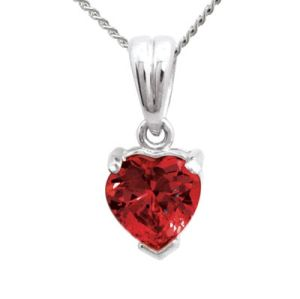 Image of Ruby White Gold Pendant - Heart (W64665/CR)