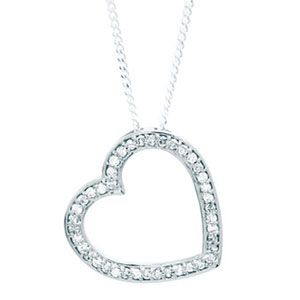 Image of Diamond White Gold Pendant - Heart (W64749)
