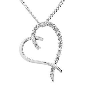 Image of Diamond White Gold Pendant - Heart Crossover (W64961)