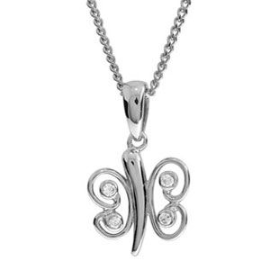 Image of Cubic Zirconia CZ White Gold Pendant - Butterfly (W65008/CZ)