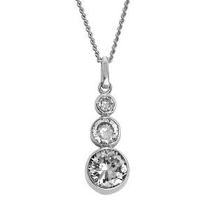 Image of Cubic Zirconia CZ White Gold Pendant - Trilogy (W65073/CZ)