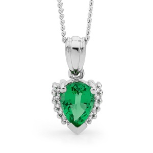 Emerald and Diamond White Gold Pendant - Pear Cluster