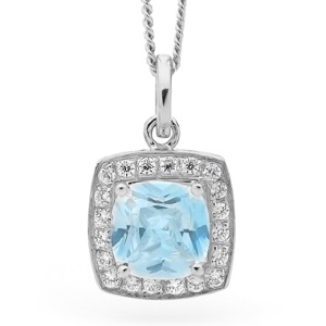 Image of Blue Cubic Zirconia White Gold Pendant - Halo (W65421/CZBT)