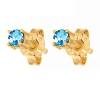 Blue Topaz Gold Earrings - Stud 3mm