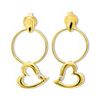 Diamond Gold Earrings - Heart Circle