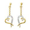 Diamond Gold Earrings - Heart Chain
