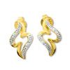 Diamond Gold Earrings - Zigzag
