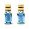 Blue Topaz and Diamond Gold Earrings - Ribbed