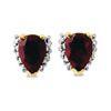 Ruby and Diamond Gold Earrings - Pear Cluster