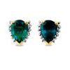 Emerald and Diamond Gold Earrings - Pear