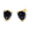 Sapphire and Diamond Gold Earrings - Cluster