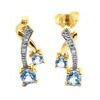 Blue Topaz and Diamond Gold Earrings