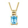 Blue Topaz and Diamond Gold Pendant - Ribbed